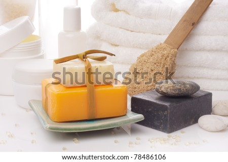 soaps with accessory on white background - stock photo