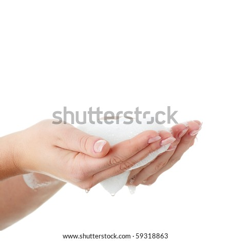 Soapy foam on woman's hands