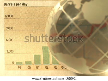 "Soaring oil prices: A rising trend line refracted in a glass globe. Words ""barrels per day"" are visible in the top left corner."