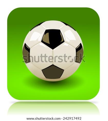 Soccer App Icon Illustration on White Background - stock photo