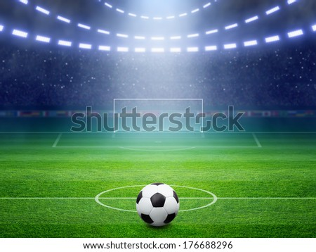 Soccer background, soccer ball, soccer stadium, arena in night illuminated bright spotlights, soccer goal, green field - stock photo
