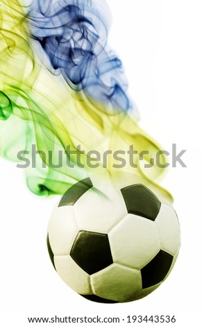 Soccer ball and brazil`s flag colors  - stock photo