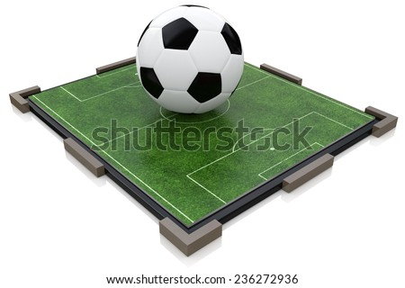 Soccer ball and football field