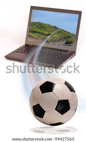 Soccer Ball and Laptop Computer. - stock photo