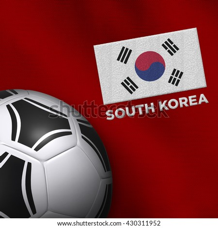 Soccer ball and national team jersey of South Korea. - stock photo
