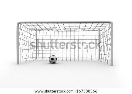 Soccer ball and post isolated on white.