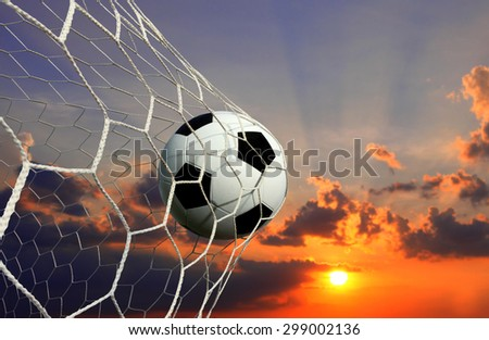 soccer ball and sky background - stock photo