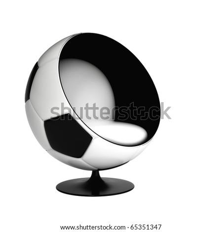 Soccer Ball Armchair Isolatedon white background - stock photo