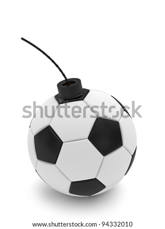 Soccer ball bomb on white. High resolution 3D image rendered with soft shadows - stock photo