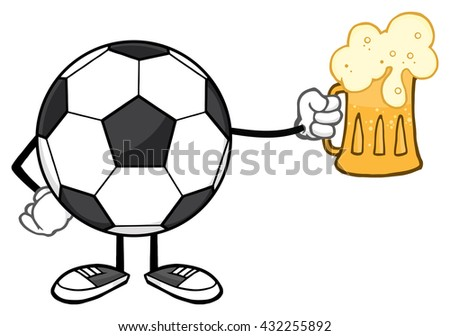 Soccer Ball Cartoon Mascot Character Holding A Beer Glass. Raster Illustration Isolated On White Background - stock photo
