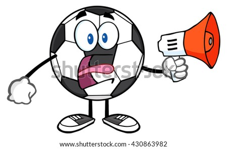 Soccer Ball Cartoon Mascot Character Using A Megaphone. Raster Illustration Isolated On White Background - stock photo