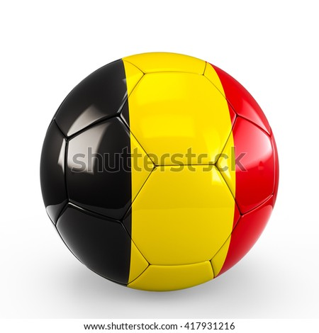 Soccer ball covered with Belgian Belgium flag texture isolated on white background. 3D Rendering, 3D Illustration.