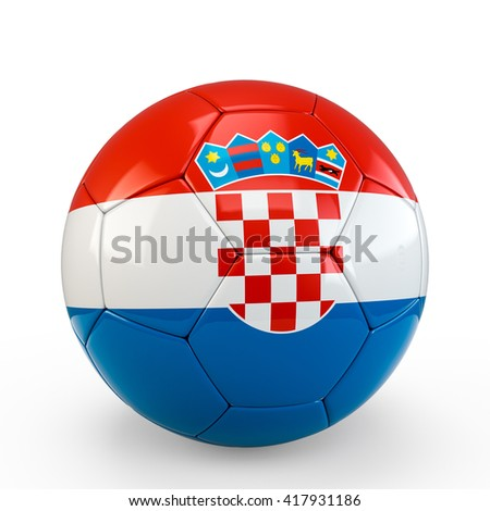 Soccer ball covered with Croatia Croatian flag texture isolated on white background. 3D Rendering, 3D Illustration.