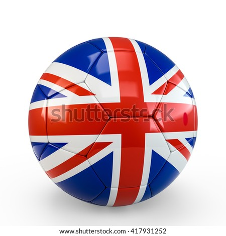 Soccer ball covered with England United Kingdom English British  Britannia flag texture isolated on white background. 3D Rendering, 3D Illustration.