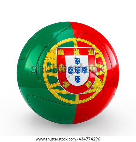 Soccer ball covered with Portugal Portuguese flag texture isolated on white background. 3D Rendering, Illustration. - stock photo