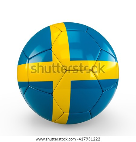 Soccer ball covered with Sweden Swedish flag texture isolated on white background. 3D Rendering, 3D Illustration.