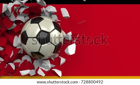 Soccer ball crashes wall painted German flag. The wall was cracked. 3D illustration. 3D high quality rendering.