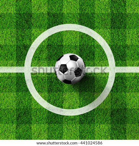 Soccer ball ( 3d illustration)  on real Grass field image - stock photo