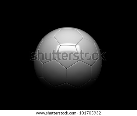 soccer ball detail on black background - stock photo