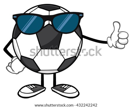 Soccer Ball Faceless Cartoon Mascot Character With Sunglasses Giving A Thumb Up. Raster Illustration Isolated On White Background - stock photo