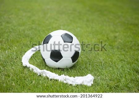 Soccer ball foam spray free kick line - stock photo