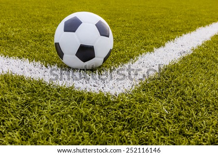 Soccer ball ,Football Artificial grass with white stripe, Football Stadium - stock photo