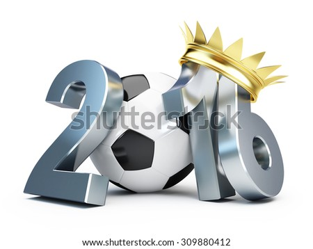 soccer ball gold crown 2016. 3d Illustrations on a white background  - stock photo