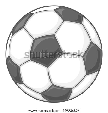 Soccer ball icon in black monochrome style isolated on white background. Sport symbol  illustration