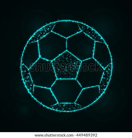Soccer Ball Illustration Icon, Cyan Color Lights Silhouette on Dark Background. Glowing Lines and Points - stock photo