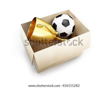 soccer ball in the box. 3d Illustrations on a white background - stock photo