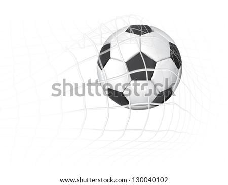 Soccer ball in the goal net illustration - stock photo