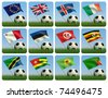 Soccer ball in the grass and the flag against the blue sky. 3d - stock photo