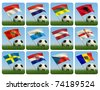 Soccer ball in the grass and the flag against the blue sky. European flags. 3d - stock vector