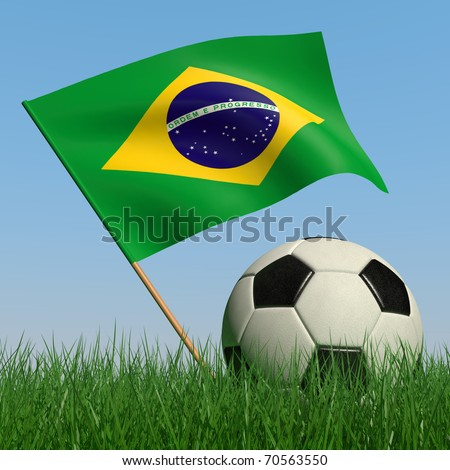 Soccer ball in the grass and the flag of Brazil against the blue sky. 3d - stock photo