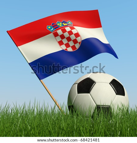 Soccer ball in the grass and the flag of Croatia against the blue sky. 3d - stock photo