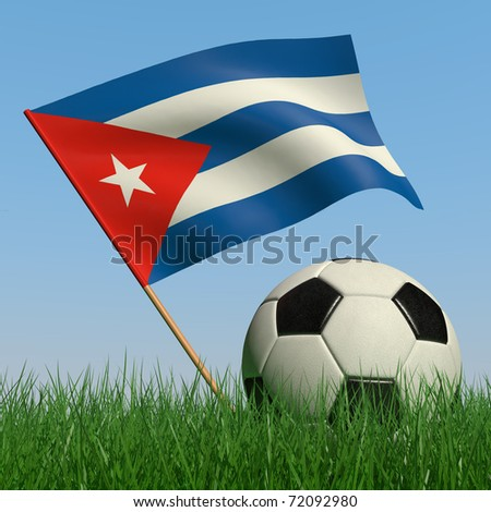 Soccer ball in the grass and the flag of Cuba against the blue sky. 3d - stock photo