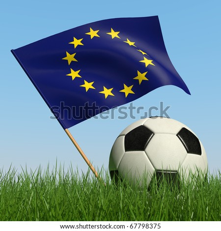 Soccer ball in the grass and the flag of European Union against the blue sky. 3d - stock photo
