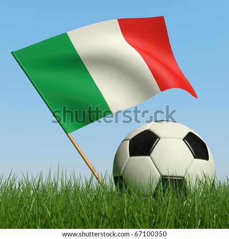 Soccer ball in the grass and the flag of Italy against the blue sky. 3d - stock photo
