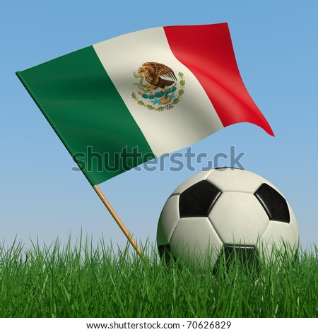 Soccer ball in the grass and the flag of Mexico against the blue sky. 3d - stock photo