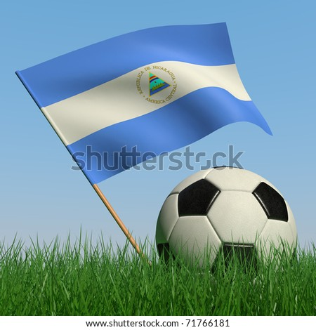 Soccer ball in the grass and the flag of Nicaragua against the blue sky. 3d - stock photo
