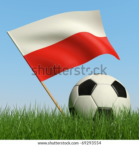 Soccer ball in the grass and the flag of Poland against the blue sky. 3d - stock photo
