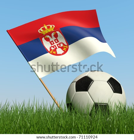 Soccer ball in the grass and the flag of Serbia against the blue sky. 3d - stock photo