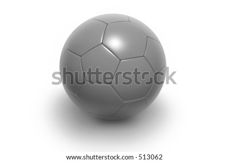 Soccer ball isolated on white background. Photorealistic 3D rendering. (all silver, see portfolio for more colors)