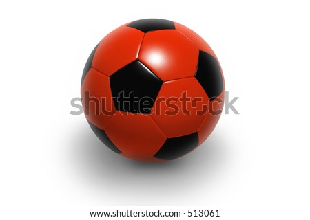Soccer ball isolated on white background. Photorealistic 3D rendering. (red and black, see portfolio for more colors) - stock photo