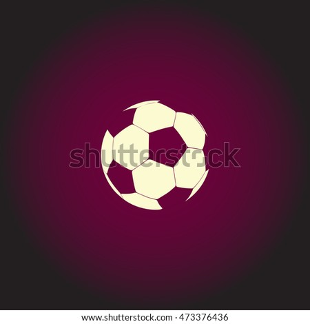 Soccer ball Light icon on dark background. Flat pictogram