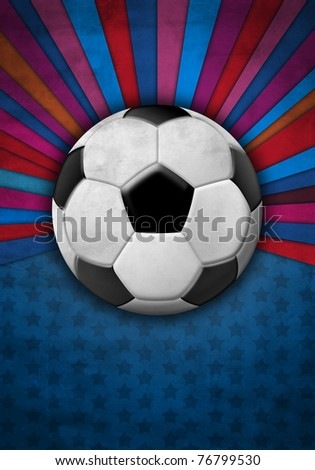 Soccer ball on a background of blue and red colors - stock photo