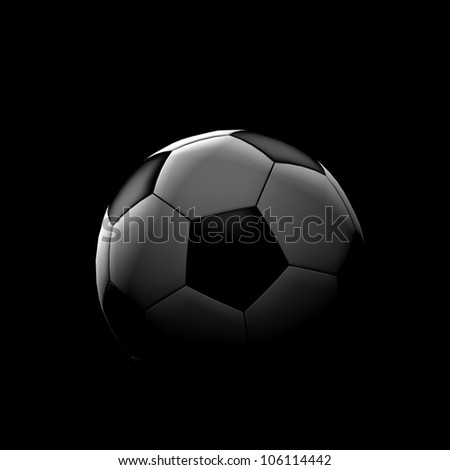 Soccer ball on black with beautiful back lighting - stock photo