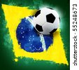 Soccer ball on Brazil grunge painted flag - stock photo