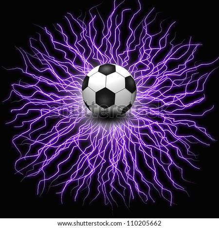 Soccer ball on electric background - stock photo