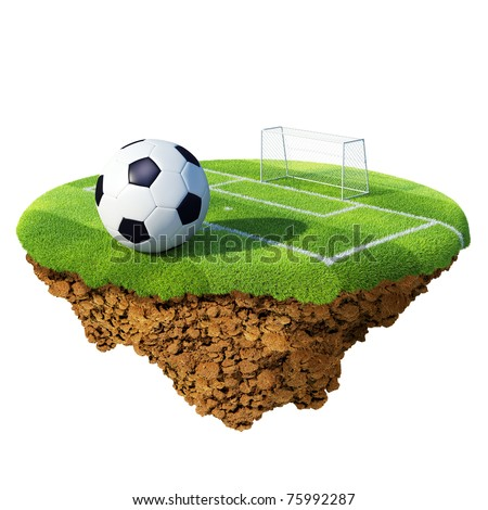 Soccer ball on field, penalty area and goal based on little planet. Concept for soccer championship, league, team design. Tiny island / planet collection. - stock photo